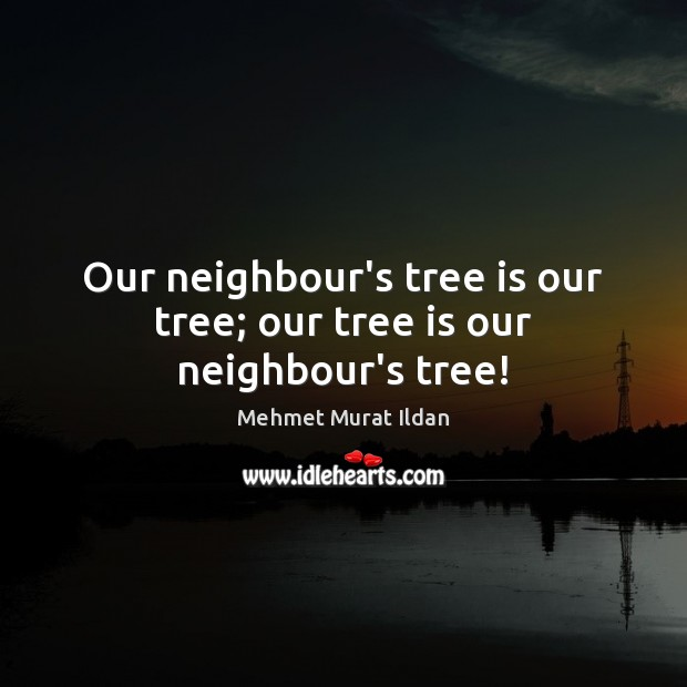 Image, Our neighbour's tree is our tree; our tree is our neighbour's tree!