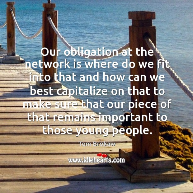 Our obligation at the network is where do we fit into that and how can we best capitalize on Image