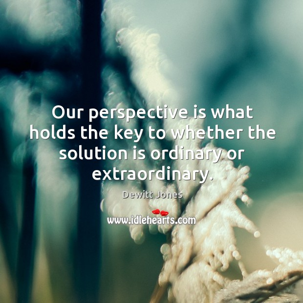 Our perspective is what holds the key to whether the solution is Dewitt Jones Picture Quote