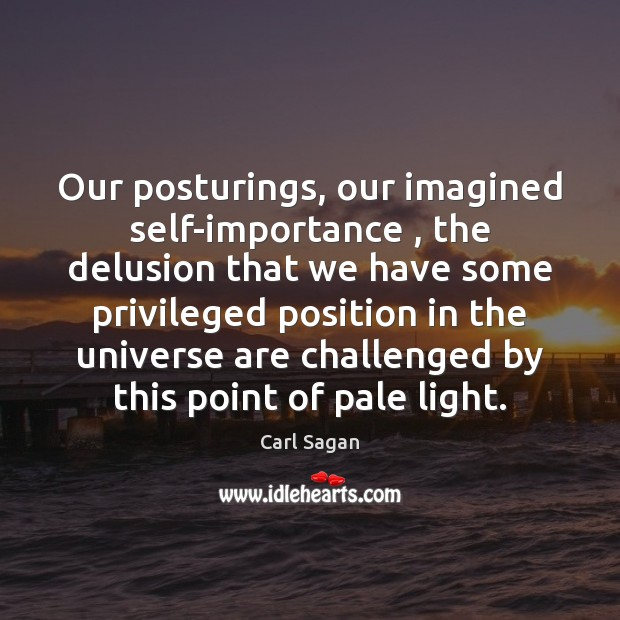 Our posturings, our imagined self-importance , the delusion that we have some privileged Image