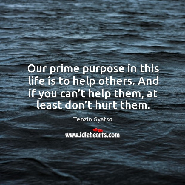 Our prime purpose in this life is to help others. And if you can't help them, at least don't hurt them. Image