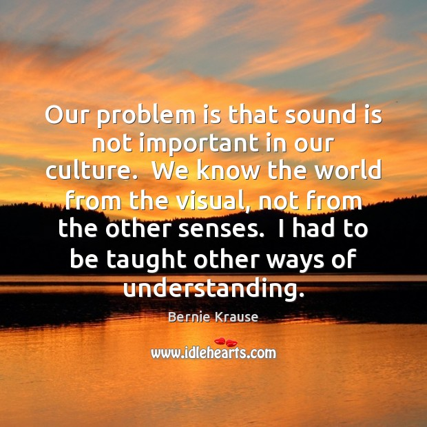 Our problem is that sound is not important in our culture.  We Culture Quotes Image