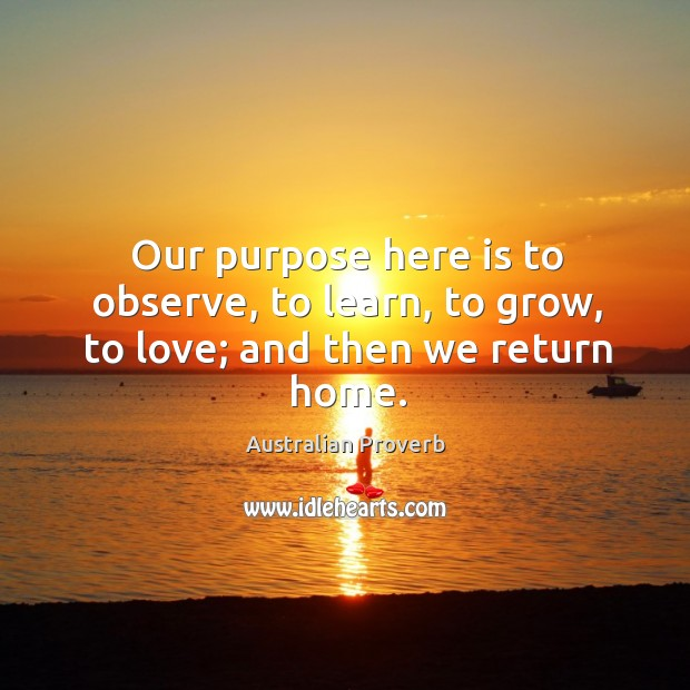 Our purpose here is to observe, to learn, to grow, to love. Australian Proverbs Image
