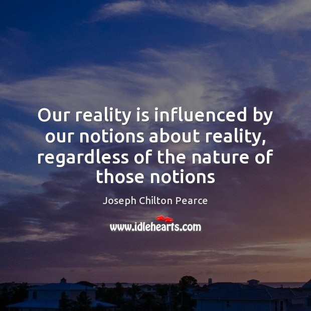 Our reality is influenced by our notions about reality, regardless of the Image