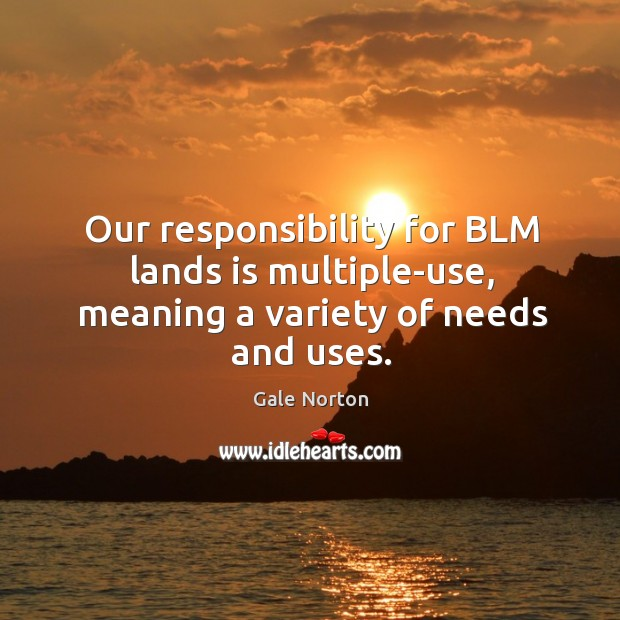 Our responsibility for blm lands is multiple-use, meaning a variety of needs and uses. Gale Norton Picture Quote