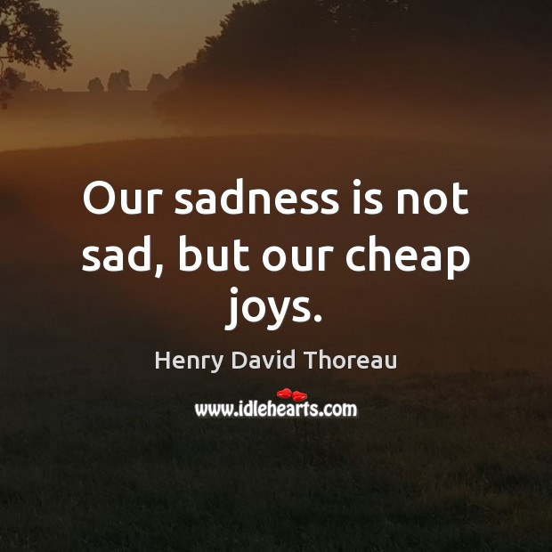 Our sadness is not sad, but our cheap joys. Image