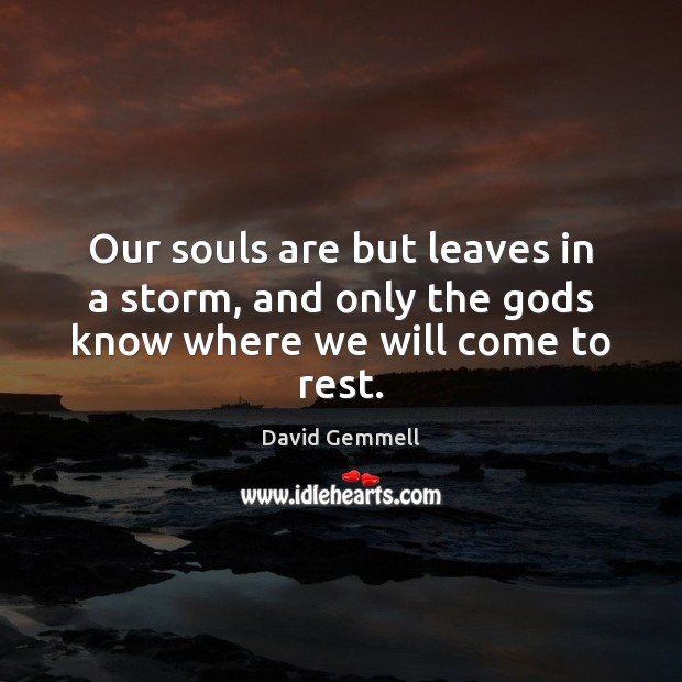 Our souls are but leaves in a storm, and only the Gods know where we will come to rest. David Gemmell Picture Quote