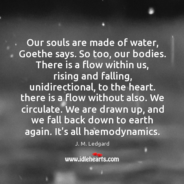 Our souls are made of water, Goethe says. So too, our bodies. Image