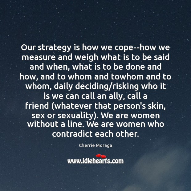 Our strategy is how we cope–how we measure and weigh what is Cherrie Moraga Picture Quote