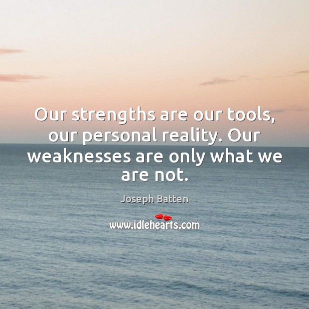 Our strengths are our tools, our personal reality. Our weaknesses are only Image