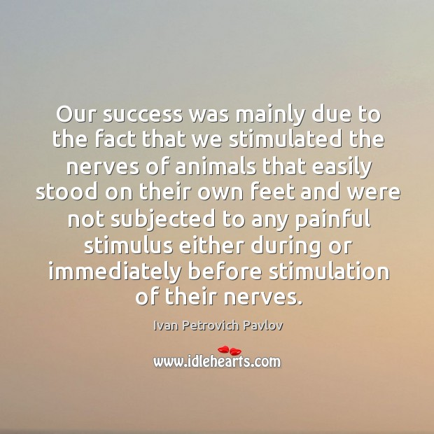 Our success was mainly due to the fact that we stimulated the nerves of animals Ivan Petrovich Pavlov Picture Quote