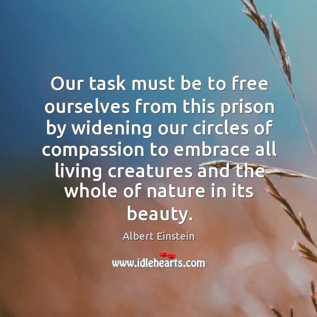 Image, Our task must be to free ourselves from this prison by widening our circles of compassion to.