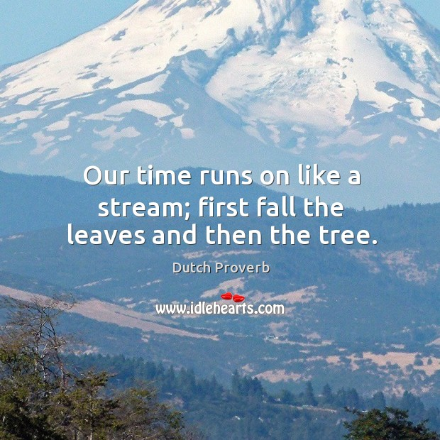 Our time runs on like a stream; first fall the leaves and then the tree. Dutch Proverbs Image