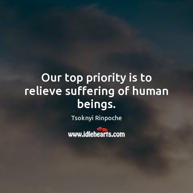 Our top priority is to relieve suffering of human beings. Tsoknyi Rinpoche Picture Quote