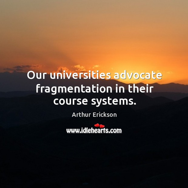Image, Our universities advocate fragmentation in their course systems.