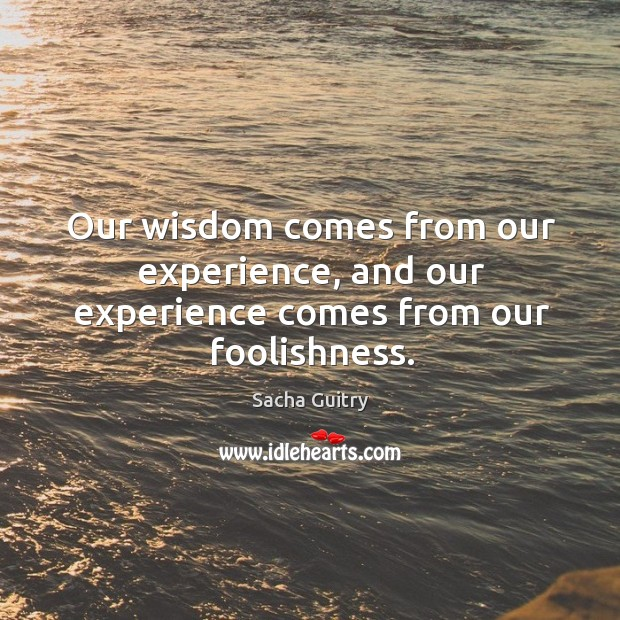 Our wisdom comes from our experience, and our experience comes from our foolishness. Image