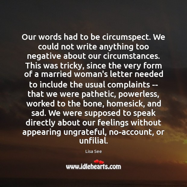 Our words had to be circumspect. We could not write anything too Image