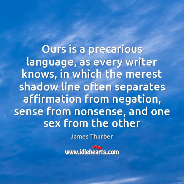 Ours is a precarious language, as every writer knows, in which the Image