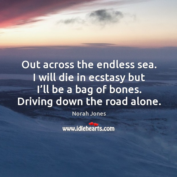 Out across the endless sea. I will die in ecstasy but I'll be a bag of bones. Driving down the road alone. Image