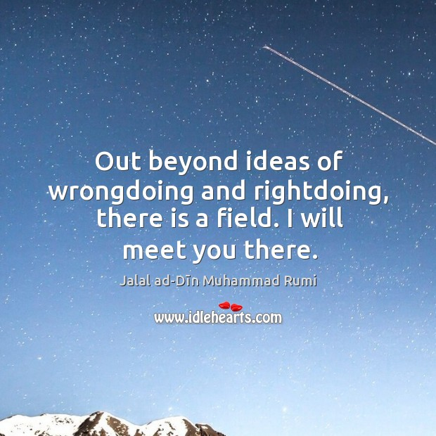 Out beyond ideas of wrongdoing and rightdoing, there is a field. I will meet you there. Image