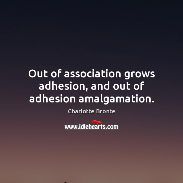 Image, Out of association grows adhesion, and out of adhesion amalgamation.