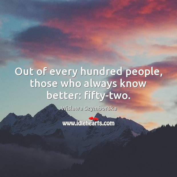 Out of every hundred people, those who always know better: fifty-two. Wislawa Szymborska Picture Quote