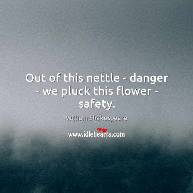 Image, Out of this nettle – danger – we pluck this flower – safety.