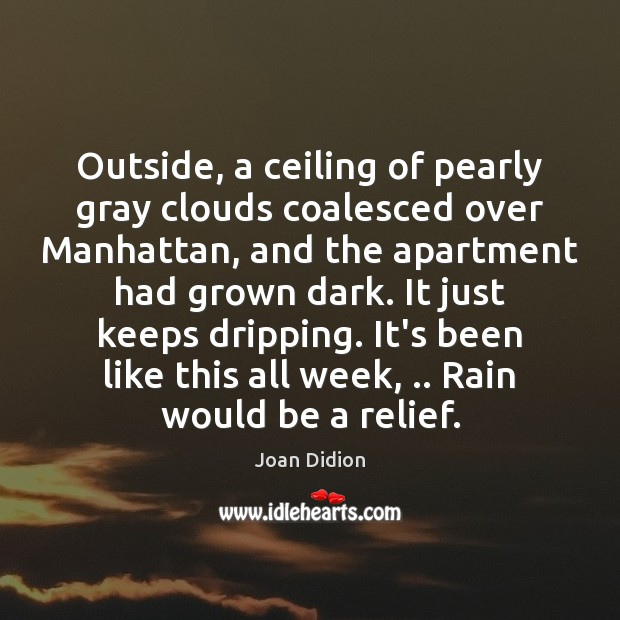 Outside, a ceiling of pearly gray clouds coalesced over Manhattan, and the Joan Didion Picture Quote