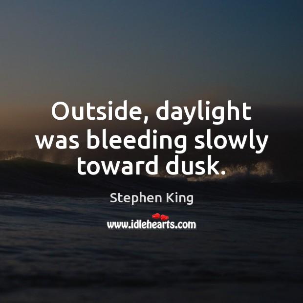 Outside, daylight was bleeding slowly toward dusk. Image