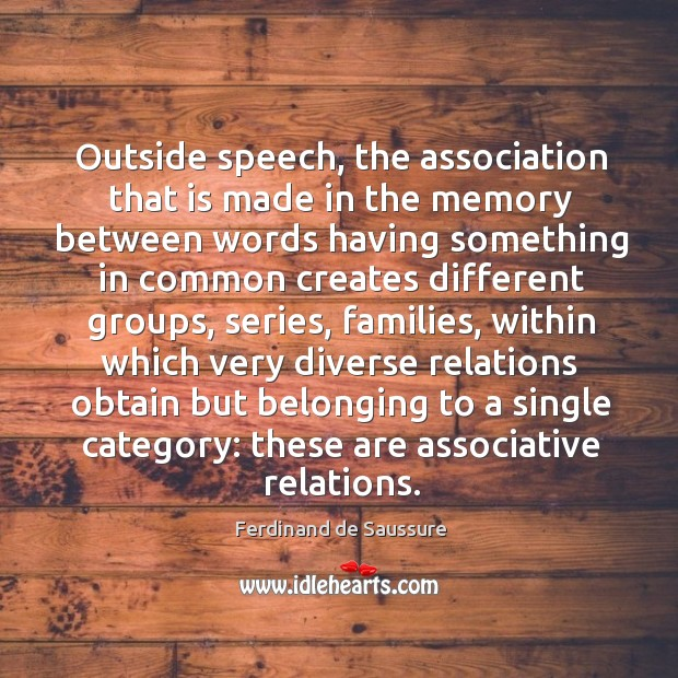 Outside speech, the association that is made in the memory between words having something Image