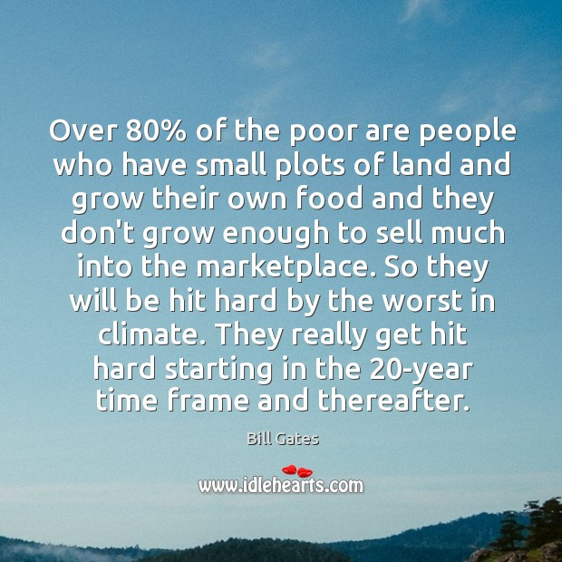Over 80% of the poor are people who have small plots of land Image