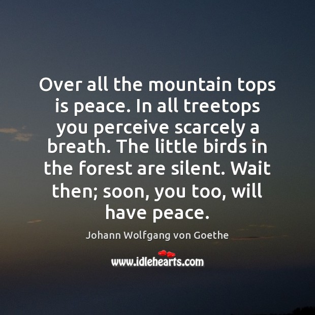 Over all the mountain tops is peace. In all treetops you perceive Image