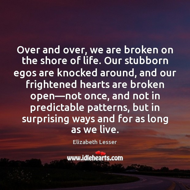 Over and over, we are broken on the shore of life. Our Elizabeth Lesser Picture Quote