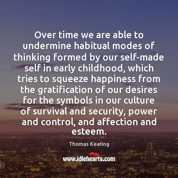 Over time we are able to undermine habitual modes of thinking formed Thomas Keating Picture Quote
