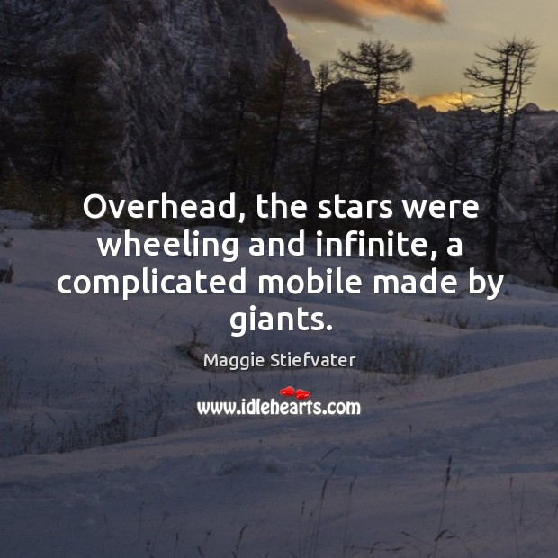 Image, Overhead, the stars were wheeling and infinite, a complicated mobile made by giants.