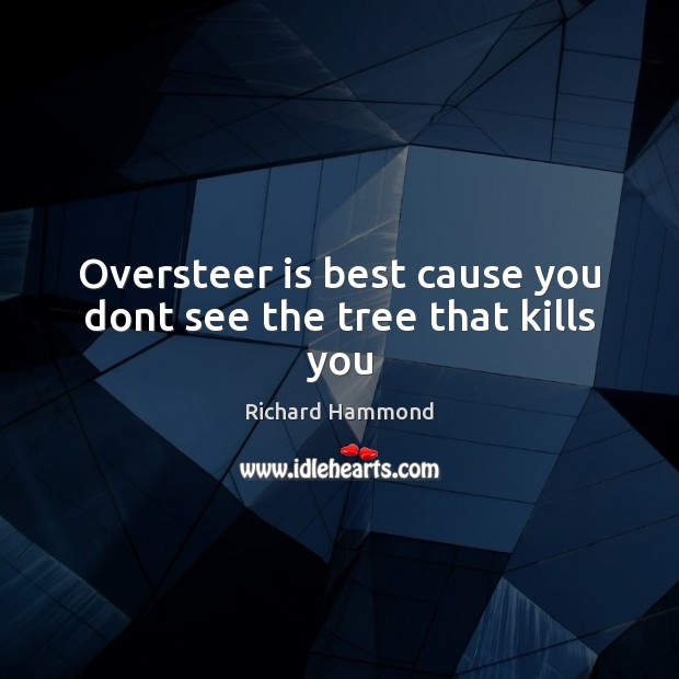Oversteer is best cause you dont see the tree that kills you Richard Hammond Picture Quote