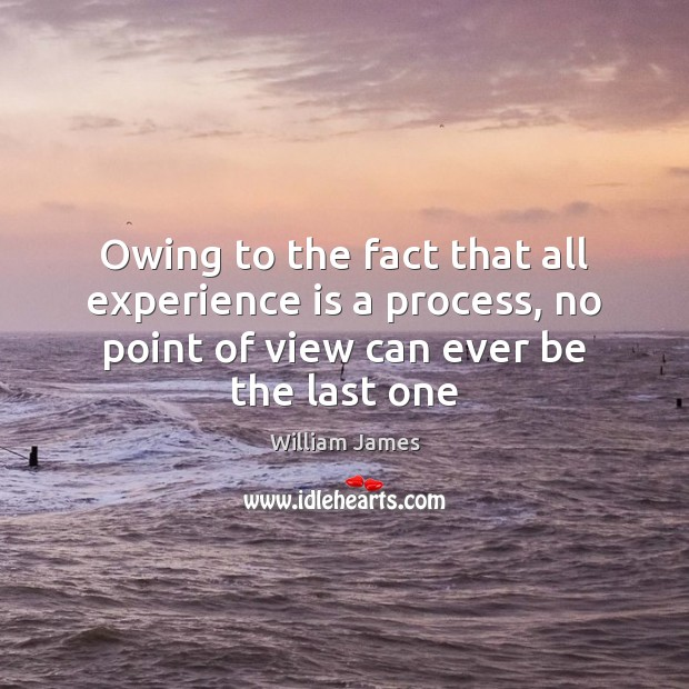 Owing to the fact that all experience is a process, no point Experience Quotes Image