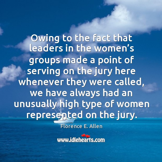 Image, Owing to the fact that leaders in the women's groups made a point of serving on the jury