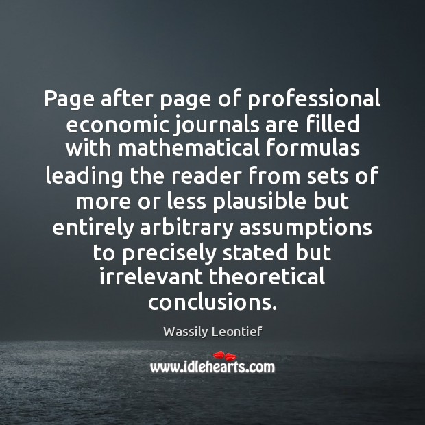 Page after page of professional economic journals are filled with mathematical formulas Image
