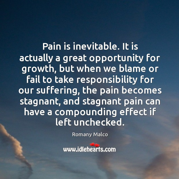 Pain is inevitable. It is actually a great opportunity for growth, but Romany Malco Picture Quote
