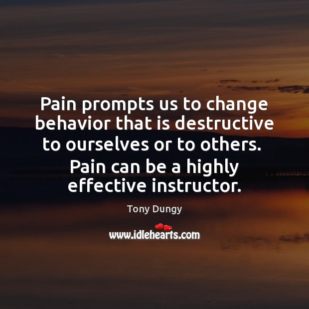 Pain prompts us to change behavior that is destructive to ourselves or Behavior Quotes Image