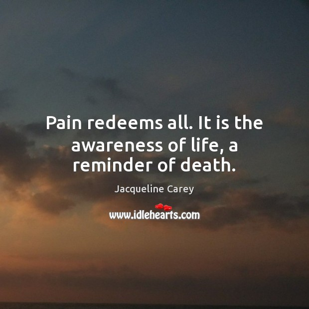 Image, Pain redeems all. It is the awareness of life, a reminder of death.