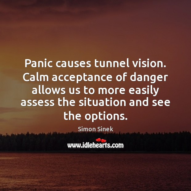 Panic causes tunnel vision. Calm acceptance of danger allows us to more Simon Sinek Picture Quote