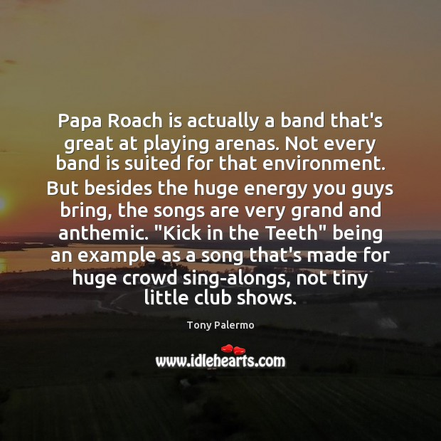 Image, Papa Roach is actually a band that's great at playing arenas. Not