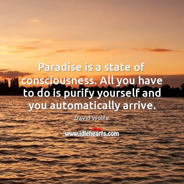 Paradise is a state of consciousness. All you have to do is David Wolfe Picture Quote