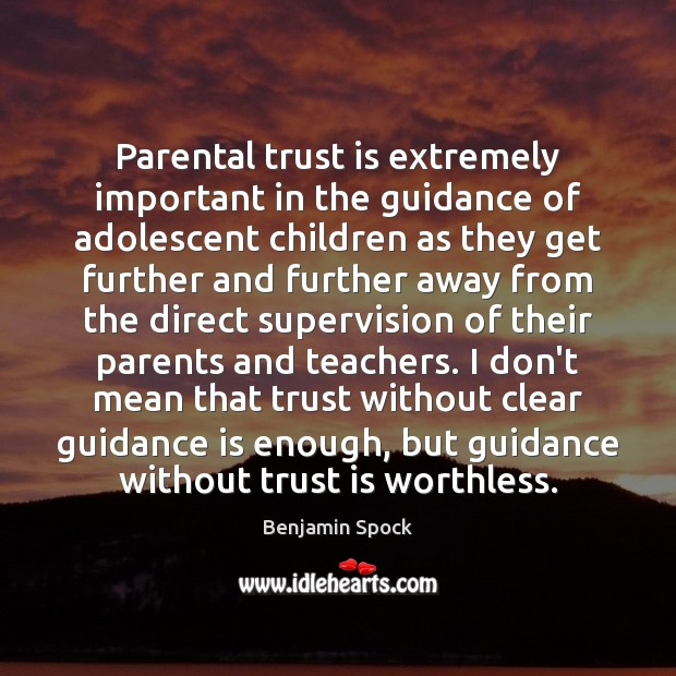 Parental trust is extremely important in the guidance of adolescent children as Trust Quotes Image