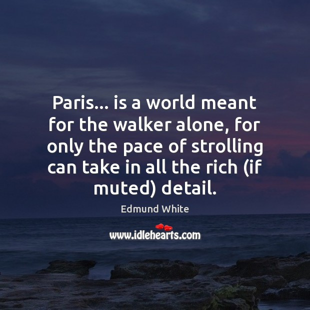 Paris… is a world meant for the walker alone, for only the Image