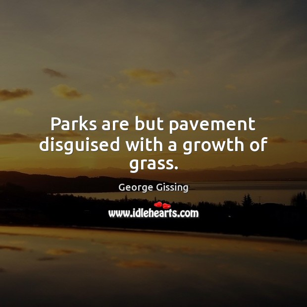 Parks are but pavement disguised with a growth of grass. Image