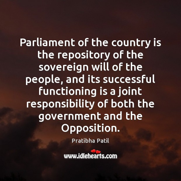 Image, Parliament of the country is the repository of the sovereign will of