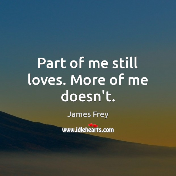 Part of me still loves. More of me doesn't. James Frey Picture Quote